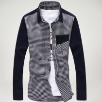 Mens New Slim Fit Plaid Casual Shirts
