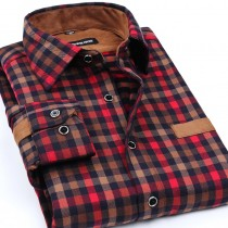 Mens Plaid Patchwork Casual Shirts
