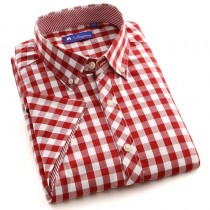 Mens Short Sleeve Plaid Cotton Shirts