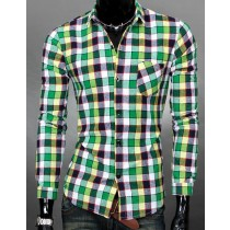 Mens Slim Fit Long-Sleeve Plaid Shirts