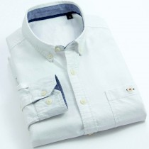 Mens Slim Fit Long Sleeve Solid Casual Shirts
