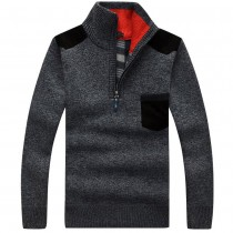Mens Slim Zippers Stand Collar Sweaters