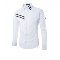Mens Solid Casual Slim Fit Long Sleeve Shirts