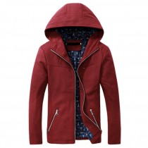 Mens Solid Slim Fit Soft Zipper Pocket Hoodies Jackets