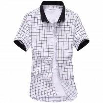 Mens Striped Short-Sleeved Plaid Shirts