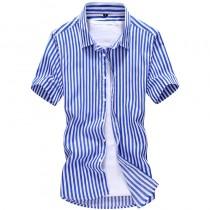 Mens Striped Short Sleeve Cotton Shirts