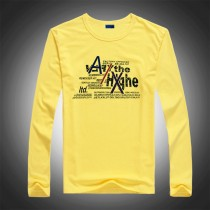Mens Yellow Long Sleeve Cotton Tshirt