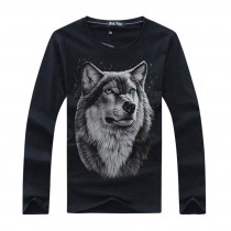 New Wolf Printed Mens Casual Tshirts