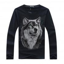 New Wolf Printed Mens Casual Tshirts