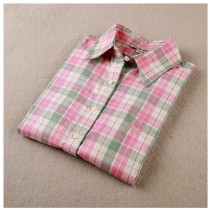 New Women Plaid Long Sleeved Shirts