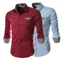 Solid Color Long Sleeve Mens Casual Shirts