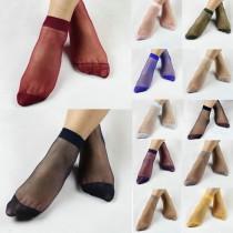 Transparent Elastic Crystal Silk Women Socks