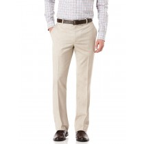 Flat Front Formal Textured Beige Pants