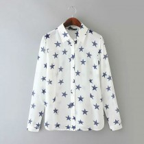 White Women Fashion Chiffon Casual Shirt