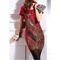 Womens Embroidery O-Neck Tops