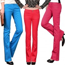 Womens Multicolour Bell Bottom Casual Trousers