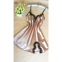 Womens Satin Silk Sleeveless V-neck Nightgowns