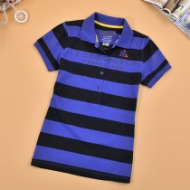 Womens Short Sleeve Slim Stripe Polo Tshirts