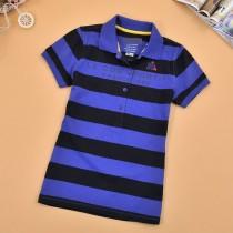 Womens Short Sleeve Slim Stripe Polo Tshirts