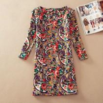 Womens Vintage Floral Print Long Sleeve Dresses